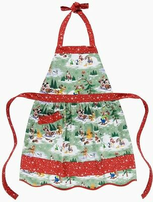 Disney Parks Storybook Mickey & Friends Happy Holiday Apron Adult New with Tags