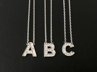 925 Sterling Silver Initial Simulated Diamond Necklace Letter Alphabet Monogram
