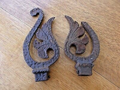 2 antique  OLD IRON FANCY CURTAIN ROD ENDS FENCE TOPPERS IRON DECOR RUSTY