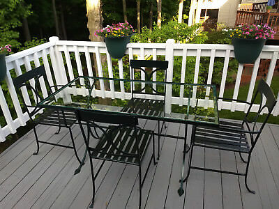 GORGEOUS CIRCA 1930s ANTIQUE PATIO TABLE & 4 CHAIRS w BEVELED GLASS