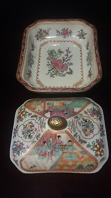 19th C. Chinese Porcelain for EXPORT  Famille Rosé Medallion  COVERED DISH.
