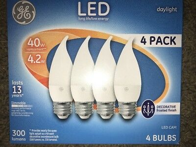 GE LED Light Bulbs 4 Pack Dimmable Daylight 40w / 4.2w Candelabra Free Shipping