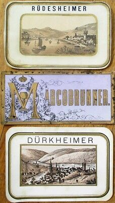 Wine Labels: German 1880s SET OF THREE - Rudesheimer, Durkheimer, Marcobrunner