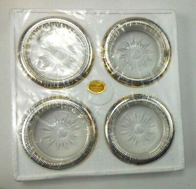 Vintage Set of 4 Crystal and Silver Plate Coasters by Leonard Italy In Box