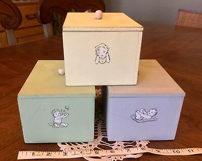 Lot Of 3 Vintage Retro Style Wooden Boxes Baby Nursery Decor Storage
