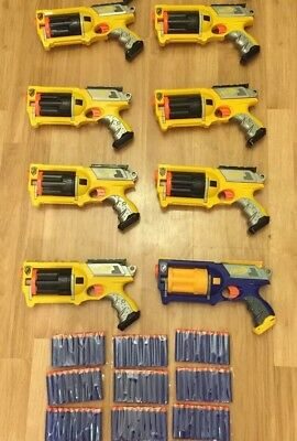 LOT Of 8 NERF N-STRIKE MAVERICK REV-6 Dart Gun Blaster Party War Pack Darts