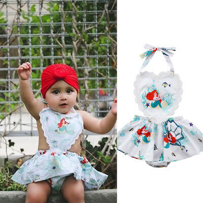 Newborn Baby Girl Infant Floral Romper Jumpsuit Bodysuit Mermaid Clothes Outfit