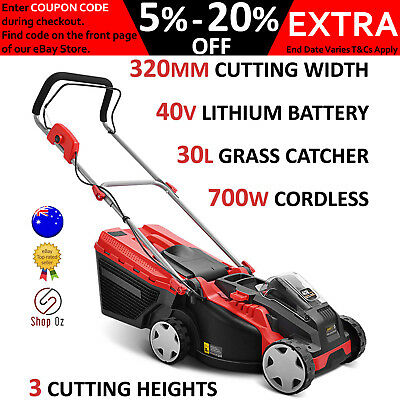 New PUSH LAWN MOWER ELECTRIC LAWNMOWER Lithium Battery Powered Cordless 700W