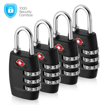 4x TSA Lock 3 Digit Combination Travel Suitcase Luggage Bag Padlock Resettable