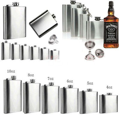 4-18 OZ Liquor Stainless Steel Pocket Hip Flask Screw Cap with Funnel Tools 1Pcs