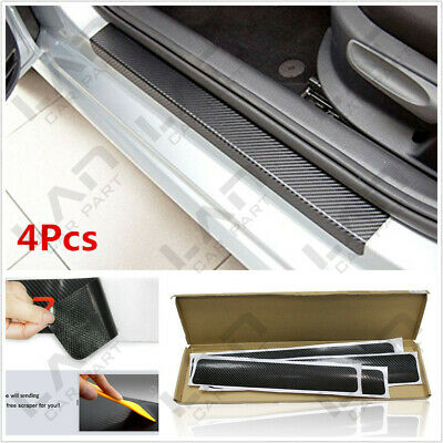4PC Car Door Sill Scuff Carbon Fiber Stickers Welcome Pedal Protect Accessories