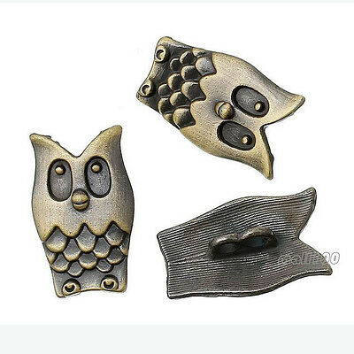 6pcs Antique Bronze 25mm  Shank Button Sewing Metal Owl 2 holes Coat Buttons