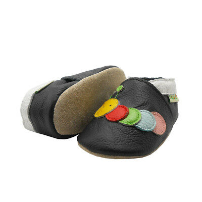 Sayoyo Baby Shoes Leather Slippers Caterpillar Soft Moccasins 0-3 Years  Black 87b7cf2a0