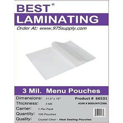 Best Laminating 3 Mil. Clear Menu Size Thermal Laminating Pouches -12 X 18 (100)