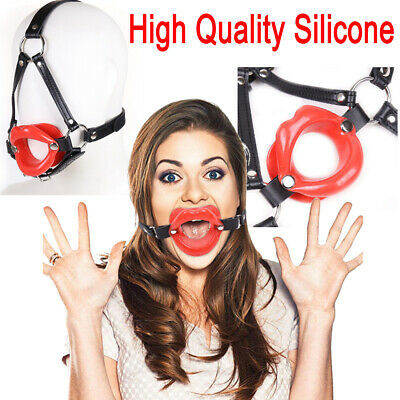 Red Black Rubber Sissy Open Mouth Gag Lips w/ Strap O-Ring Lip Ball Restraints