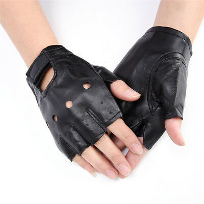 PU Leather Black Driving Motorcycle Biker Fingerless Gloves Men Women Gloves KZY