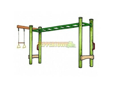 MONKEY BAR WITH Double Swing Set Kit Wood Playground Backyard Kids ...