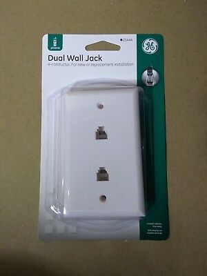 GE Dual Phone Jack Wall Mount Plates Telephone Outlet 4-Wire Conductor RJ11