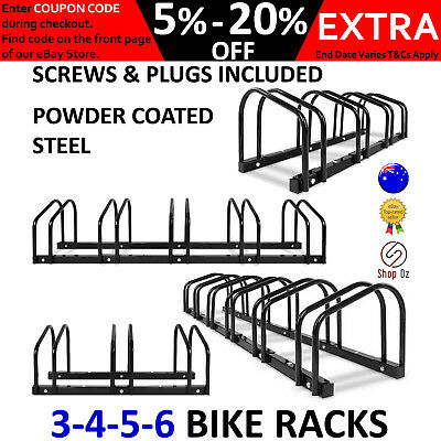 New BIKE RACK BICYCLE STORAGE STAND Floor Parking Cycling Portable 3 4 5 6 Black