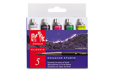 Caran d'Ache Gouache Studio 5 Colors Poster Paint Tubes for Amateur Artists
