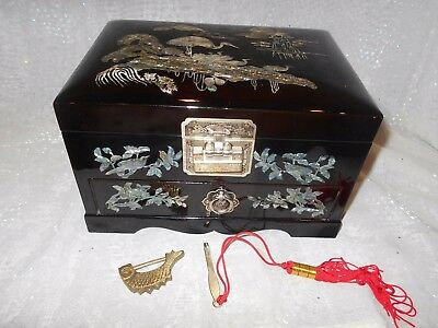 S.E. Asia black lacquer jewelry box with drawer, mother-of-pearl cranes/flowers