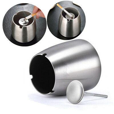 Home Protable Stainless Steel Ashtray Windproof Cigarette Butt Bucket Car Office