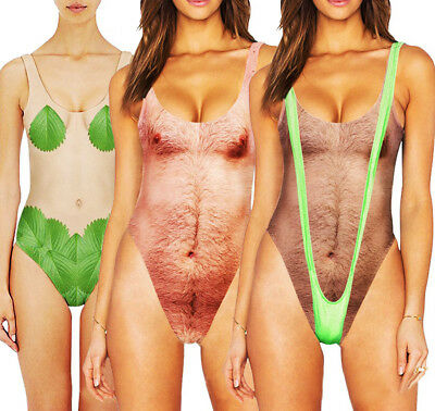 Sexy Women's Hairy Man One Piece Swimsuit Funny Bathing Summer Monokini Swimwear