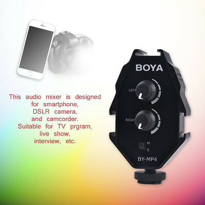 BOYA BY-MP4 Audio/Video Mixer Adapter with 3.5mm Jack for Phones DSLR Cameras