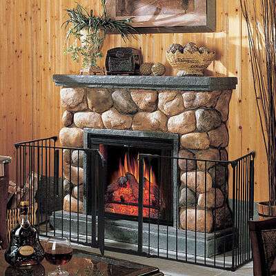 New Safety Fence Hearth Gate BBQ Metal Fire Gate Fireplace Pet Dog Cat Fence US