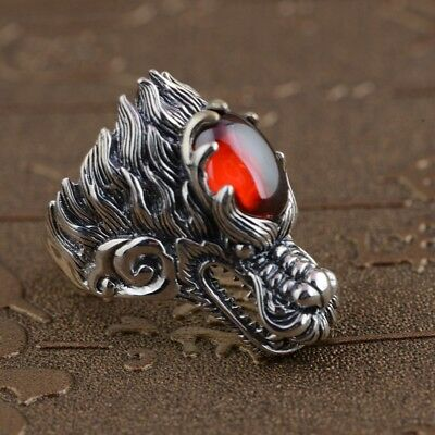Dragon Ring Men Unique Style Genuine 925 Sterling Silver Red Gemstone Sz 11 New