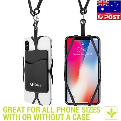 Universal Silicone Cell phone Lanyard ID Credit Card Holder Wallet Case Straps