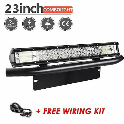 "23inch Tri-row LED Light Bar+23"" Number Plate Frame Mount Bracket 4X4 Black+Wire"