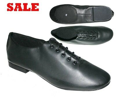 BLACK LEATHER JAZZ SHOES with SPLIT SUEDE SOLE