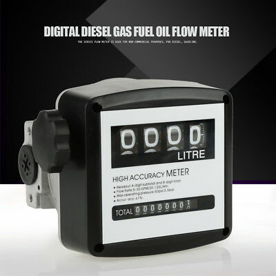 "High Accuracy 4 Digital Gallon 1% 1"" inch Diesel Gas Fuel Oil Flow Meter Counter"