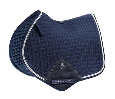 PEI Techno-Suede Close Contact Jump Saddle Pad - Navy with Silver Binding