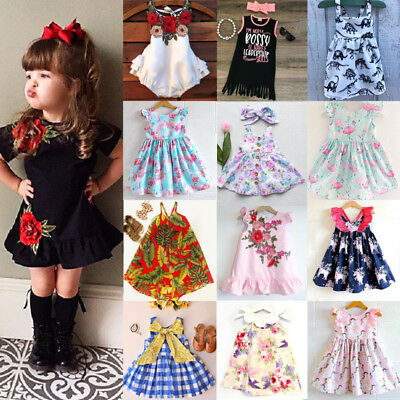 NEW Newborn Kids Baby Girls Unicorn Flower Dress Sundress Outfits Clothes Lot UK