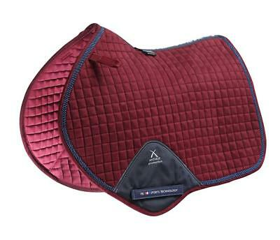 PEI Techno-Suede Close Contact Jump Saddle Pad - Burgundy with Navy Binding