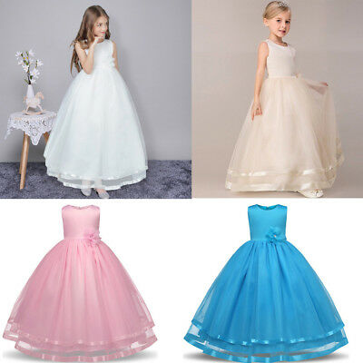 Girls Kids Flower Princess Formal Wedding Bridesmaid Gown Long Dress 4-12 Years