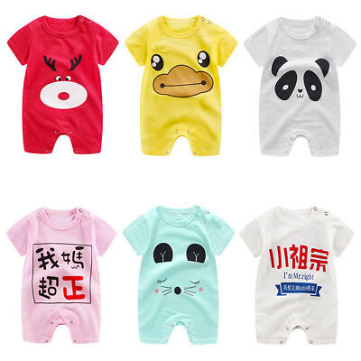 Cute Animal Letter Print Short Sleeve Romper Newborn Baby Casual Jumpsuit Nice