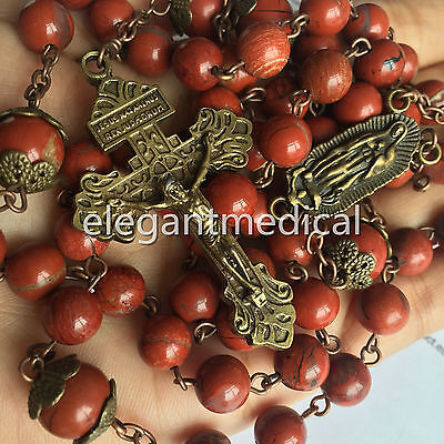 Red Carnelian Rose beads Vintage Catholic 5 DECADE Rosary Necklace Pardon Cross