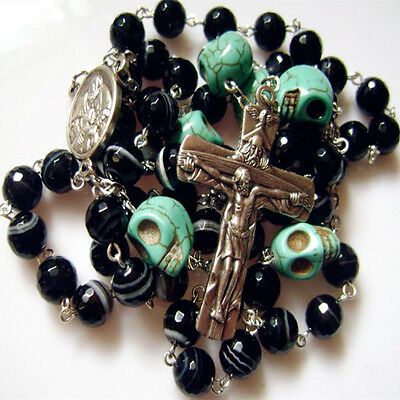 Turquoise Skull Bead & Black Agate Rosary Cross Crucifix Catholic Gift Necklace