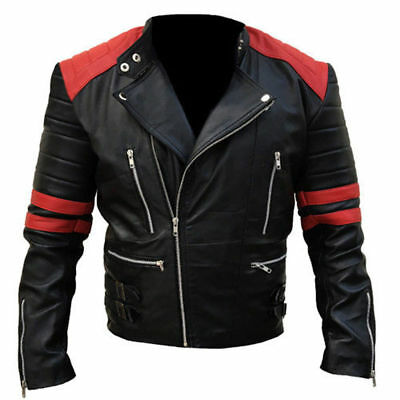 Mens Brando classic red leather jacket black motorbike vintage biker motorcycle