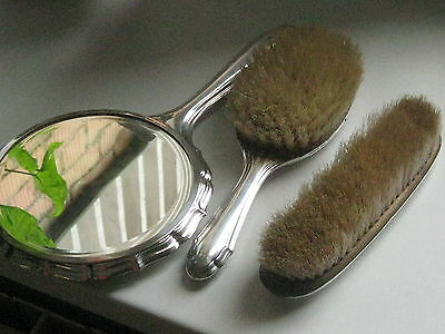 Art Nouveau Vanity 2 Brush Mirror Set Vintage Antique Silver plated marked