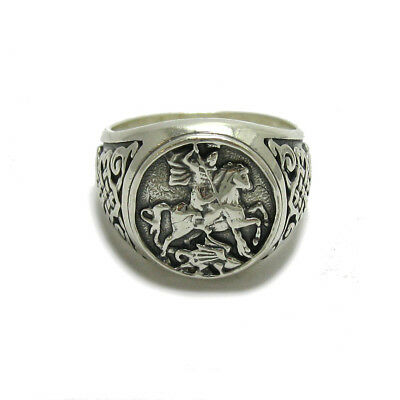 Genuine sterling silver men ring hallmarked solid 925 St George