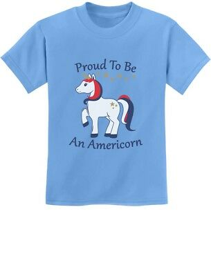 Proud To Be An Americorn USA 4th of July Unicorn Youth Kids T-Shirt Independence