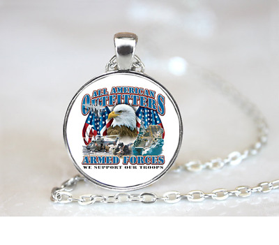Armed Forces PENDANT NECKLACE Chain Glass Tibet Silver Jewellery