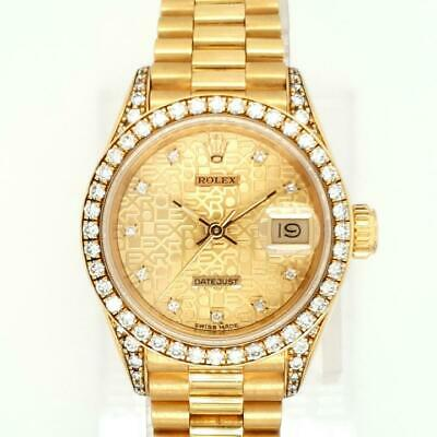 Lady Diamond Rolex Collection 69158 Just Date Crow Gold 8Pymnwv0NO