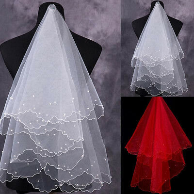 2018 New Simple white ivory 1T Wedding Bridal Elbow Satin Edge Veil With Pearl