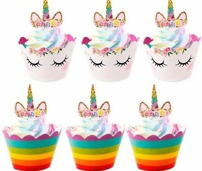 Unicorn Cupcake Toppers Wrappers X 12 Birthday Party Cake Lolly Loot Supplies