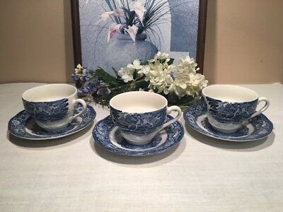 Liberty Blue Cups and Saucers, Set of 3, Paul Revere, Old North Church, Ex Cond!